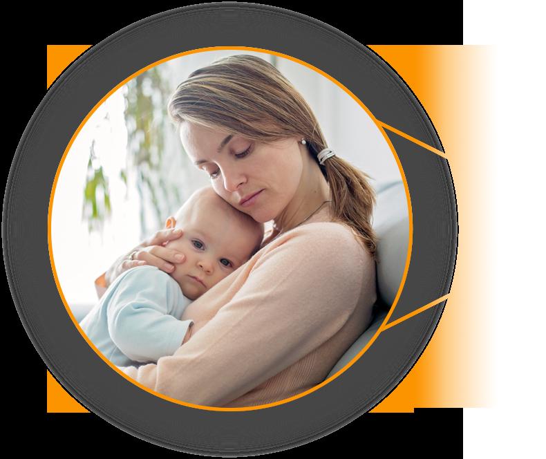 Grafika przedstawiajaca matke z dzieckiem